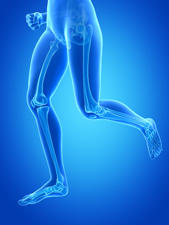 jogging woman with visible leg bones photo