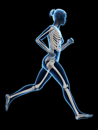 sternum: woman running - visible anatomy of the skeleton