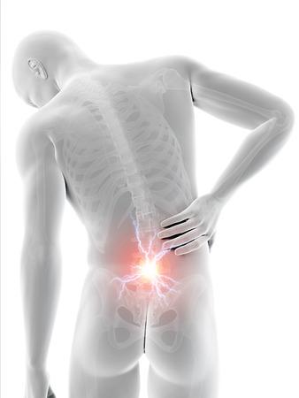 dolor de espalda: un hombre que tiene un dolor agudo en la espalda