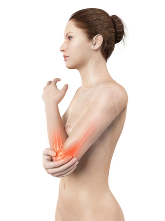 rheumatism: woman having acute pain in the elbow joint