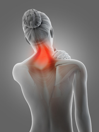 neck pain: a woman having acute pain in the neck muscles Stock Photo