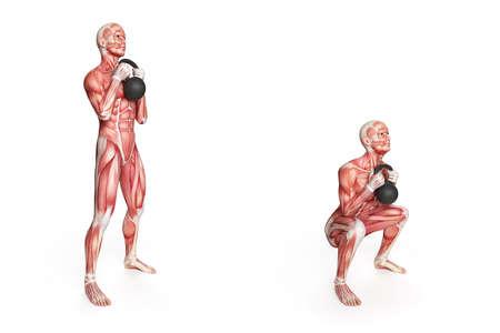 kettlebell exercise - frontsquat