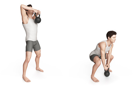 high detail: kettlebell exercise -  high pull Stock Photo