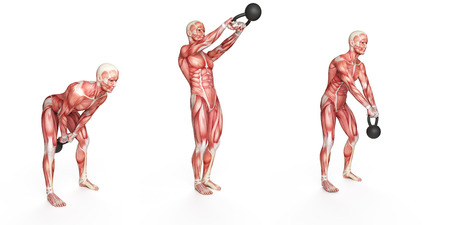 workout: kettlebell exercise - side step swing