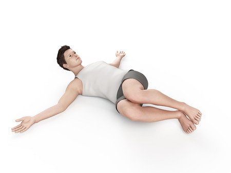 situp: exercise illustration - negative situp Stock Photo