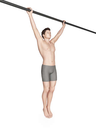 ups: exercise illustration - wide grip pull ups Stock Photo