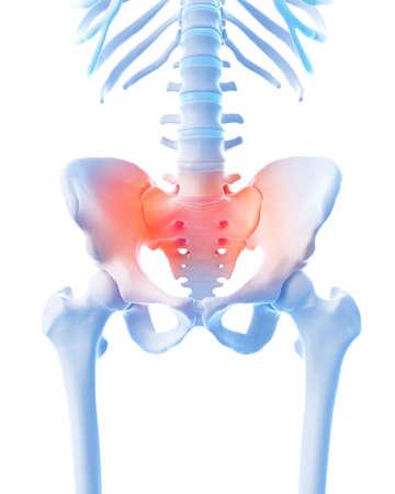 sacrum: medical 3d illustration of a painful sacrum