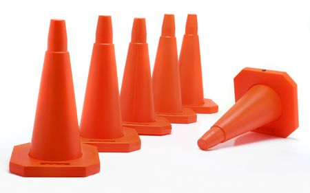 Five cones aligned, one fall down Stock Photo - 343632