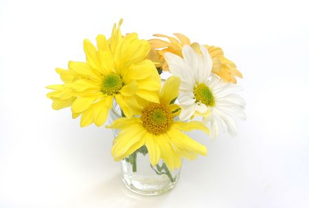 Group of flowers in a glass vase. Yellow, white and orange daisies. Useful as element design Stock Photo - 375107
