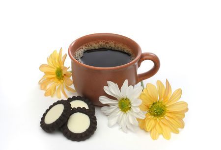 A beautiful coffee breakfast with cookies and flowers.  Look at my gallery for more delicious meals