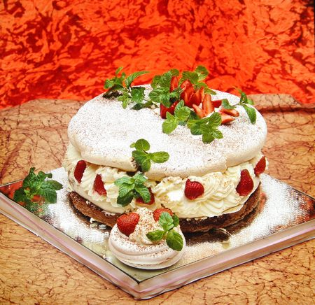 cheff: Delicious cake with strawberry mint and cream. Gourmet dessert. Look at my gallery for more images of food.