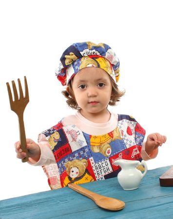 cheff: Cute toddler cooking dressed as a chef. More pictures of this  at my gallery