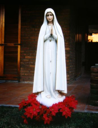 hymn: Religion, image of Mary virgin with red flowers behind