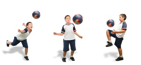 Sports. Boy playing soccer (ball on air). From my football series. White background