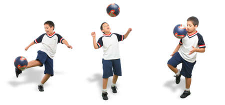 Sports. Boy playing soccer (ball on air). From my football series. White background photo
