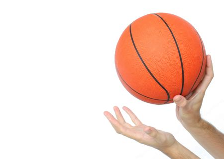 Hands throwing or catching a basketball ball isolated. From my sport series.