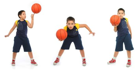 basketball tournaments: Boy playing basketball isolated. Different positions. From my sport series.