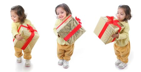 Cute little girl with a christmas present. Three diferent positions! photo