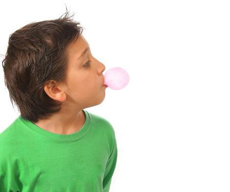 chewing: Bubble gum boy portrait with fun expressions. Look at my galery for more pictures of this model