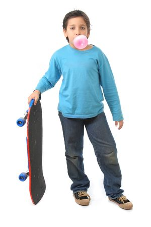 chewed: Bubble gum boy holding a skate. Look at my galery for more pictures of this model Stock Photo