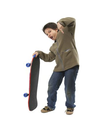 Skater boy making funny expressions. Full body, white background. More sports pictures at my gallery Stock Photo - 552130
