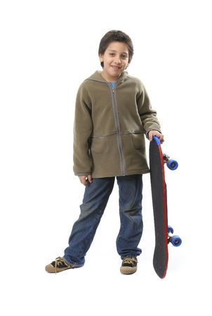 boy body: Cool boy posing with his skate. Full body, white background. More pictures of this model at my gallery Stock Photo