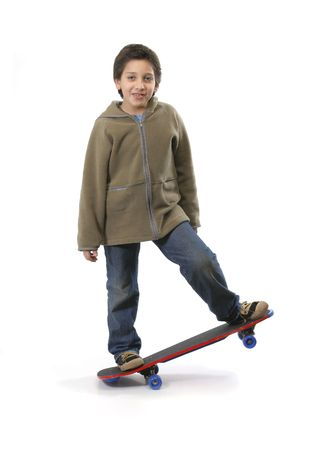 attitude boy: Cool boy skateboarding. Full boy, white background. More pictures of this model at my gallery Stock Photo