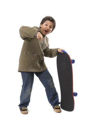 skater boy: Skater boy making funny expressions. Full body, white background. More sports pictures at my gallery