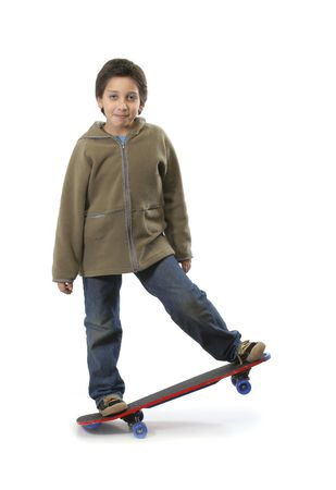 Cool boy skateboarding. Full boy, white background. More pictures of this model at my gallery photo