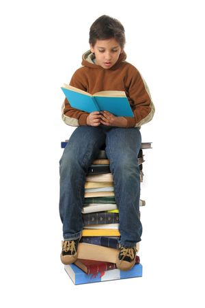 volumes: Boy sitting on a big pile of books. Different expressions (series)