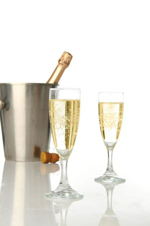 Champagne flutes and ice bucket, festive combo. Stock Photo - 604392