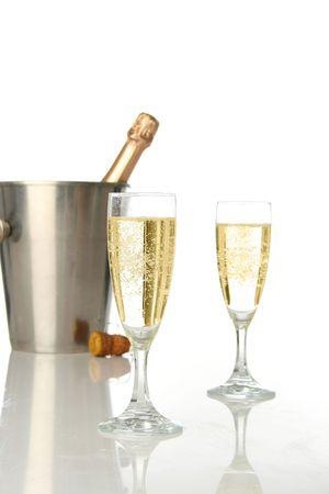 holydays: Champagne flutes and ice bucket, festive combo.