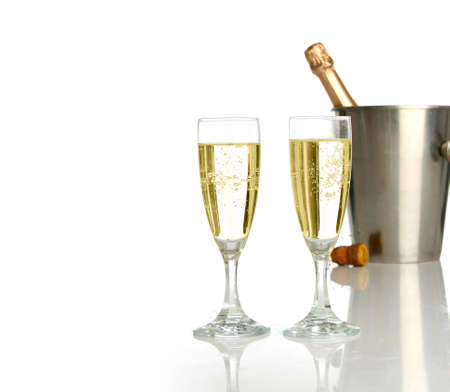 Champagne flutes and ice bucket, festive combo. Stock Photo - 604393