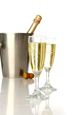 uncork: Champagne flutes and ice bucket, festive combo.