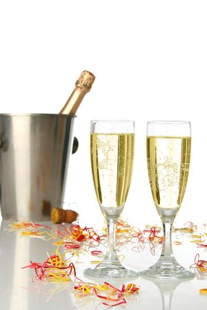 Champagne flutes and ice bucket, festive combo. Stock Photo - 604398
