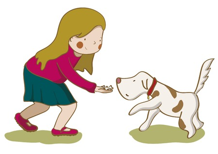 Girl giving cookies to her dog