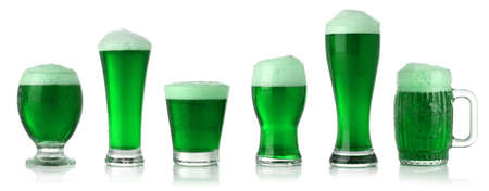 Different glasses of St. Patricks Day green beer photo