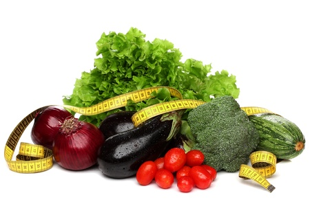 cholesterol free: Delicious group of vegetables over white Stock Photo