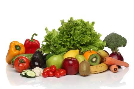 cholesterol free: Delicious group of healthy vegetables isolated on white