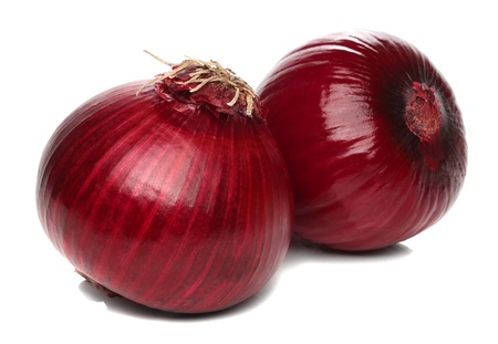 thin bulb: Red onion bulb isolated on white background