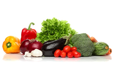 cholesterol free: Delicious group of healthy vegetables over white