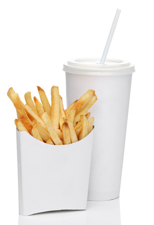 French fries and a cola drink, isolated on white photo