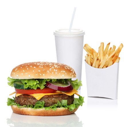 combo: Hamburger with french fries and a cola drink, isolated on white Stock Photo