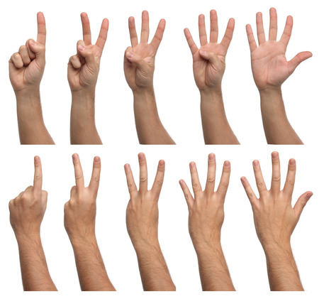 arms raised: Set of counting hands isolated on white background