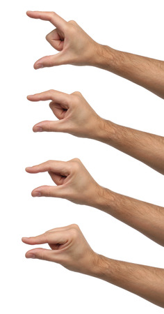 big and small: Hand signs  Differents sizes isolated Stock Photo