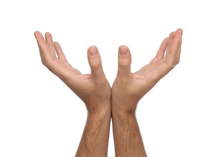reverential: Due mani maschili isolato su sfondo bianco Archivio Fotografico