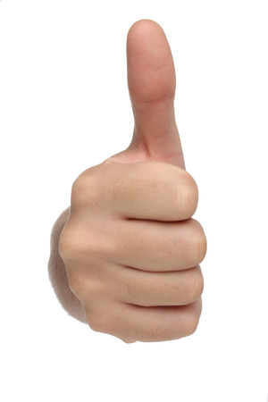 agree: Male hand sign with thumb up  Isolated concept