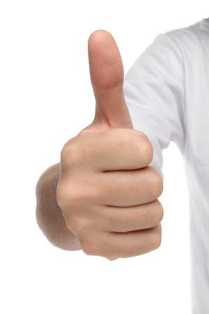 hand sign: Man hand teken met duim omhoog geïsoleerd begrip
