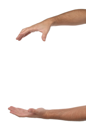 male palm: Two male hands with space to put something  Isolated