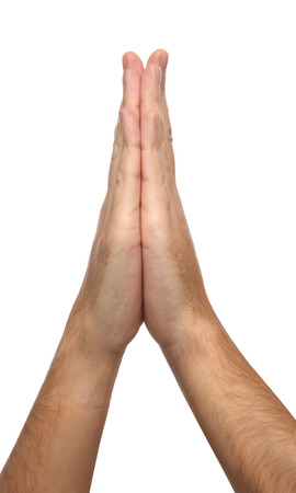 supplication: Two praying hands isolated on white background Stock Photo